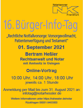 16. Bürgerinfotag Notarkammer Frankfurt am Main